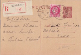 Entier Iris 80c Brun Recommandé Corbenay 550 Le 24/7/41 Avec Complément 2F Ceres Rouge Pour Lure - Postmark Collection (Covers)