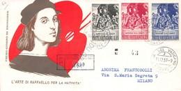 FDC Milvio Vaticano 1959 - Natale - Raccomandata Viaggiata - Francobolli