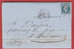 Paris - Etoile 24 Sur N°22 - Rue De Clery - LAC Vers Moirans Novembre 1865 - Marcophilie (Lettres)