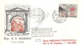 FDC Rodia - San Marino 1962 - Europa - Raccomandata Viaggiata - Francobolli
