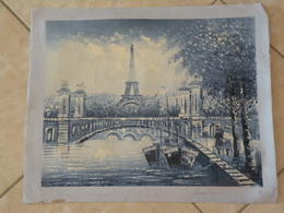 Paris Bords De Seine Avec La Tour Effel - Peinture à L'Huile Sur Toile 59cm X 49cm (signé) - Huiles