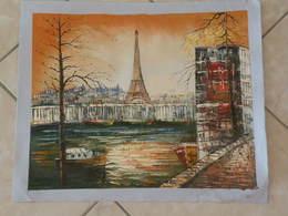 Paris Bords De Seine Ces Barques Et Bateaux, La Tour Effel - Peinture à L'Huile Sur Toile 59cm X 49cm - Huiles