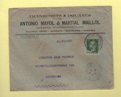 Type Pasteur - Tarif Imprime Destination Allemagne - Cerbere Pyrenees Orientales - 1877-1920: Période Semi Moderne