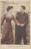 """CARTE FANTAISIE. COUPLE. SÉRIE COMPLÈTE DE 5 CARTES COLORISÉES.  """" DERRIÈRE LE PARAVENT """". ANNÉE 1905 - Couples"""