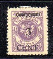 APR795 - LITUANIA MEMEL KLAIPEDA 1923 , Unificato N. 173  Nuovo *  (2380A) . Piega - Lituania