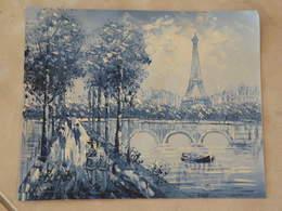 Paris, Bords De Seine - Peinture à L'Huile Sur Toile 26,5cm X 21,5cm - Huiles