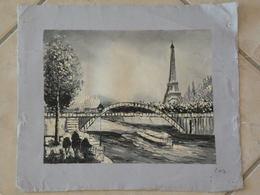 Paris, Bords De Seine - Peinture à L'Huile Sur Toile 34cm X 28,5cm - Huiles
