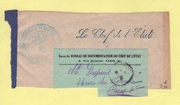 Franchise - Le Chef De L Etat - Bureau De Documentation Du Chef De L Etat - Francisque - Fragment De Bande - Postmark Collection (Covers)