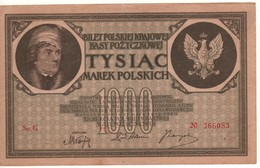 POLAND 1'000 Marek  P22a  Dated 17.5.1919 - Pologne