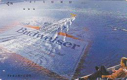 Télécarte Japon / 110-74815 - Alcool - BIERE BUDWEISER & Avion - BEER & Air Plane Japan Phonecard - BIER - CERVEZA - 801 - Advertising
