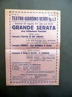 Foglio Volante Teatro Giardino Verdi Serata Pro Istituzioni Fasciste PNF OND - Vecchi Documenti