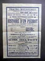 Foglio Volante Teatro Metastasio Histoire D'Un Pierrot Mario Costa Roma 1904 - Vecchi Documenti