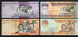 DOMINICAN REPUBLIC SET 50 50 100 100 PESOS BANKNOTES 2013-2014 UNC - Dominicana