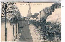 Paris Inondations  La Ligne Des Invalides Train 1w460 - La Crecida Del Sena De 1910
