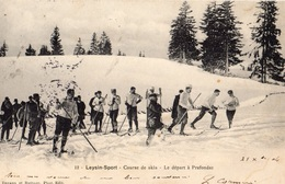 LEYSIN SPORT COURSE DE SKIS LE DEPART A PRAFONDAZ (CARTE PRECURSEUR ) - VD Vaud
