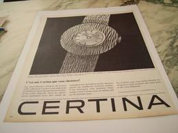 ANCIENNE PUBLICITE VOUS CHOISIREZ UNE MONTRE  CERTINA 1963 - Joyas & Relojería