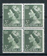 Australia 1953-57 QEII Definitives - 3d Deep Green Block Of 4 MNH (SG 262) - Mint Stamps