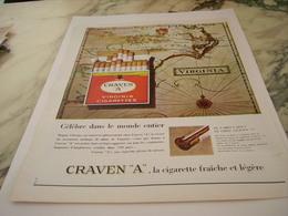 ANCIENNE PUBLICITE CELEBRE DANS LE MONDE CIGARETTE CRAVEN A 1963 - Tabac (objets Liés)