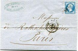 """FRANCE LETTRE AFFRANCHIE AVEC UN N°14 CACHET D'ESSAI LYON CHIFFRES BATONS """"1818"""" DEPART LYON 2? FEVR 62 POUR LA FRANCE - 1849-1876: Classic Period"""
