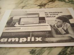 ANCIENNE PUBLICITE LA MUSIQUE ET VOTRE DECOR DE AMPLIX 1963 - Musik & Instrumente