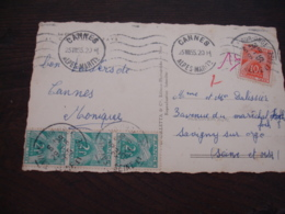 Lettre Taxee 4 Timbre Gerbe Gerbes 10 F Et Babe De 2 F - Postage Due Covers