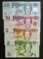FIJI SET 2 5 10 20 DOLLARS BANKNOTES (2007-2011) UNC - Figi