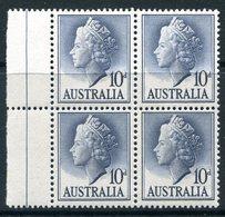 Australia 1955-57 QEII Definitives - 10d Deep Grey-blue Block LHM (SG 282c) - 1952-65 Elizabeth II: Dezimalausgaben (Vorläufer)