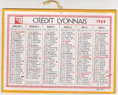 Calendrier Cartonné CREDIT LYONNAIS 1969 - Calendriers