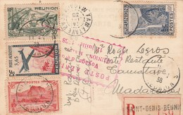 Carte Postale Recommandée St Denis Réunion 11/7/1938 Cachet Poste Aérienne Voyage Etude Pour Madagascar Voir Description - Réunion (1852-1975)