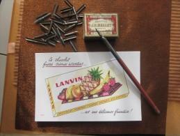Vintage Ancien Porte-plume Avec Sa Plume+Boite De Plumes Mallat+Buvard Publicitaire LANVIN-Bureau-écrire Av Encre école - Plumes