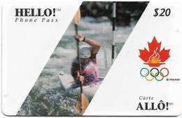 Canada - Hello! - Olympic Games, Rafting, Remote Mem. 20$, 03.1996, Used - Canada