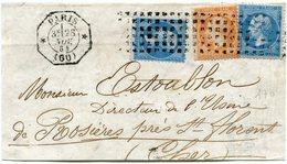 FRANCE GRAND FRAGMENT AFFRANCHI AVEC 2 X LE N°22 + UN N°23 OBLITERATION GROS POINTS DEPART PARIS 28 NOV 64 - 1849-1876: Période Classique