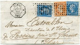 FRANCE GRAND FRAGMENT AFFRANCHI AVEC 2 X LE N°22 + UN N°23 OBLITERATION GROS POINTS DEPART PARIS 28 NOV 64 - Postmark Collection (Covers)