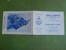 DEPLIANT MILITAIRE ARRAS  CEUX DE L ARTOIS RASSELBLEMENT NATIONAL GLOIRE ET HONNEUR AUX BOUEUX DE L ARTOIS 1962 BON ETA - Documents
