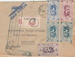Lettre Avion Recommandée 060 St Denis Réunion 28/3/1947 Cachet Poste Aérienne Pour Madagascar Voir Description - Réunion (1852-1975)