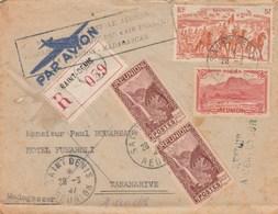 Lettre Avion Recommandée 059 St Denis Réunion 28/3/1947 Cachet Poste Aérienne Pour Madagascar Voir Verso Et Description - Réunion (1852-1975)