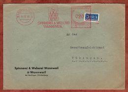 Brief, Absenderfreistempel, Spinnerei & Weberei, 20 Pfg, Vorausentwertetes Notopfer, Wannweil 1951 (76056) - BRD