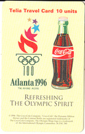 SWEDEN - Coca Cola, Atlanta 196 Olympics, Telia Promotion Prepaid Card, Exp.date 30/09/97, Used - Advertising