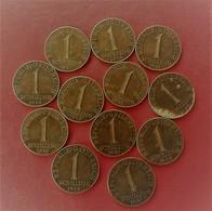 AUTRICHE  LOT  DE 12 PIECES  DE MONNAIE  1 SCHILLING 1959-1960_1961 - Autriche