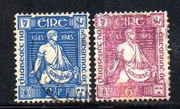 APR1639 - IRLANDA 1945 , Unificato N. 102/103  Usato  (2380A) - 1937-1949 Éire