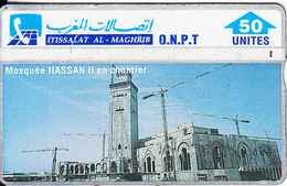 MOROCCO(L&G) - Hassan II Mosque, O.N.P.T. Telecard 50 Units, CN : 204A, Used - Landschappen