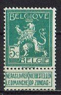 Belgien 1912 // Mi. 91 * - 1912 Pellens