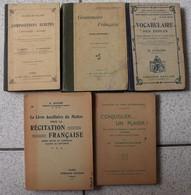 5 Livres Vocabulaire Des écoles, Conjuguer, Récitation Grammaire Compositions écrites Littérature Histoire Livre Maître - Lots De Plusieurs Livres