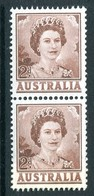 Australia 1959-63 QEII Definitives - 2d Brown - Coil Pair MNH (SG 309a) - Mint Stamps