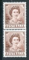 Australia 1959-63 QEII Definitives - 2d Brown - Coil Pair LHM (SG 309a) - Mint Stamps