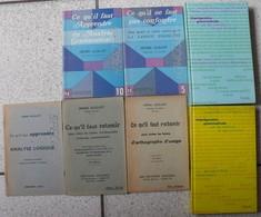 7 Livres Analyse Logique Grammaticale Fautes D'orthographe Imprégnation Grammaticale Langue Française. Hervé Guillot - Lots De Plusieurs Livres