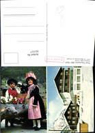 621517,Mehrbild Ak Täsch B. Zermatt Hotel Täscherhof Kinder Tracht Brunnen - VS Wallis