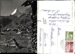 621503,Foto Ak Zermatt Matterhorn Wegkreuz I. Vordergrund Kreuz - VS Wallis