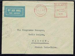 Malaya - Enveloppe Par Avion, Oblitération E.M.A. 0.25 Cents  De Singapore, Pour Radio Saigon à Saigon - - Singapore (1959-...)