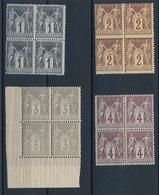 """CV-170: FRANCE: Lot """"SAGE N/U"""" N°83-85-87-88 En Blocs De 4* - 1876-1898 Sage (Type II)"""